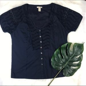 3 for 20 ‼️J Crew Delaney Navy Chic Eyelet Top 4